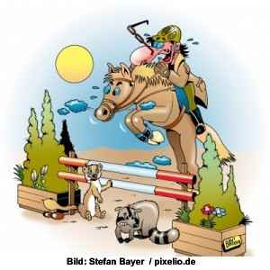 Cartoon Springreiten © Stefan Bayer / pixelio.de