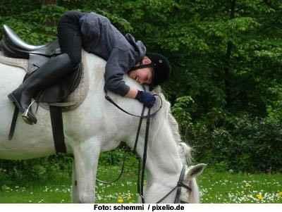 Kontrollverlust des Reiters beim Grasen am Wegesrand